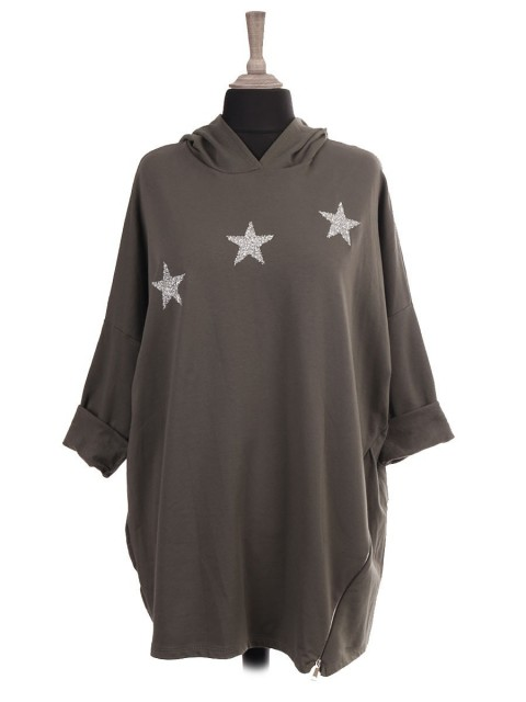 Italian Hooded Glitter Stars Top With Side Zip Detail