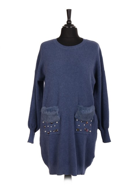 Italian Jumper With Faux Fur And Pearl Detail Front Pockets