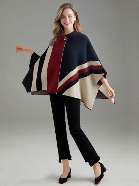 Italian Knitted Cape With Front Zip And Side Button Detail
