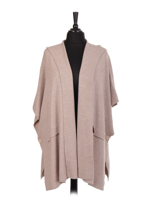 Italian Knitted Hooded Cape With Side Button