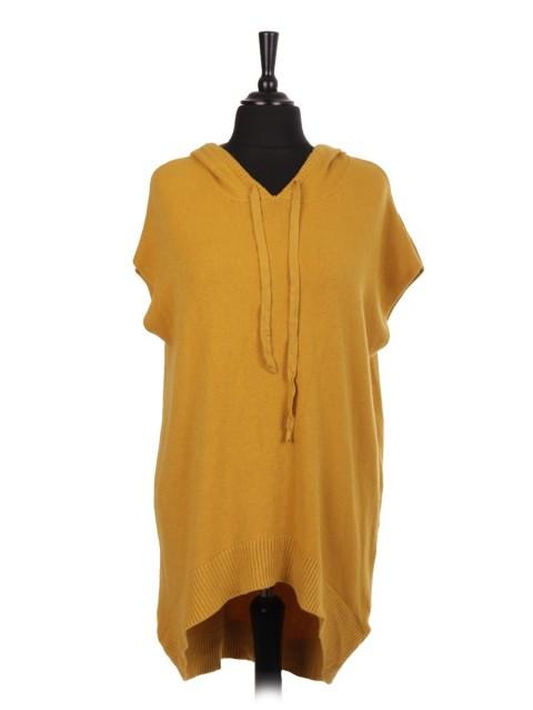 Italian Knitted Hooded Sleeveless Dip Hem Jumper