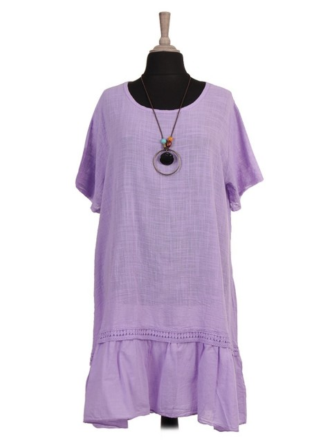 Italian Lace Detail Flared Dress With Necklace