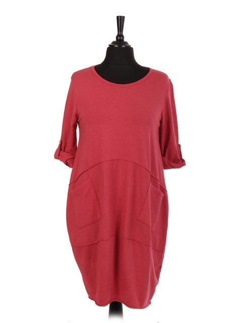 Italian Cotton Lagenlook Dress With Front Ribbed Panel And Pockets