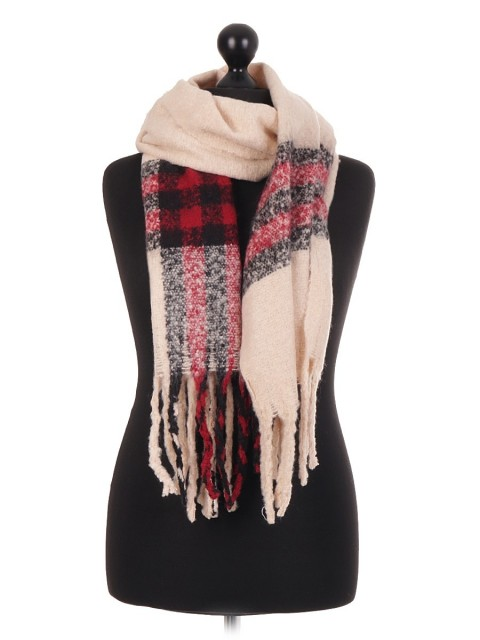 Ladies Italian Lana Wool Mix Check Pattern Scarf