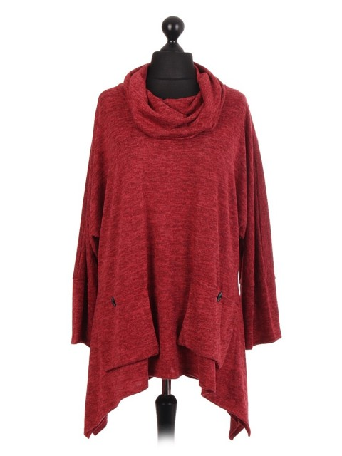 Italian Lana Wool Mix Cowl Neck Tunic Top