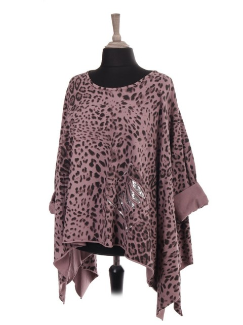 Italian Leopard Print Batwing Tunic Top With Front Sequin Pocket