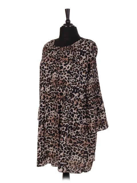 Italian Leopard Print Pleated Dress