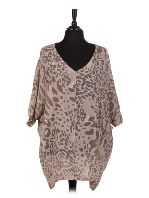 Italian Linen Animal Print Batwing Top With Front Pocket