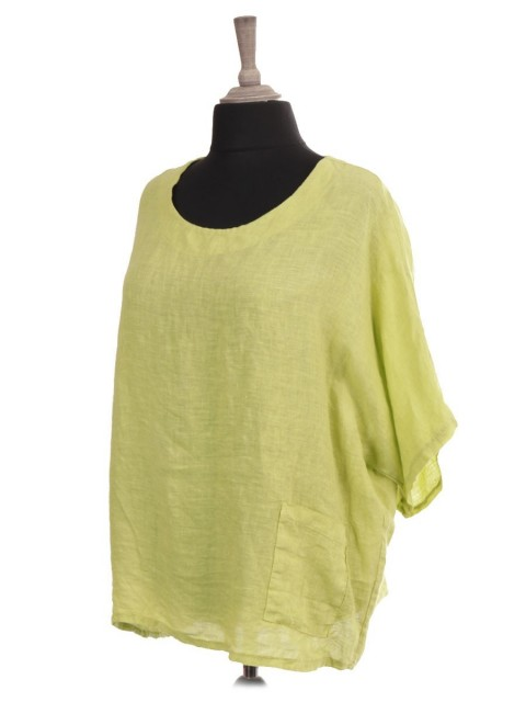 Italian Linen Batwing Top With Front Pocket