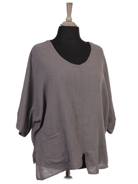 Italian Linen Batwing Top With Front Pocket And Split