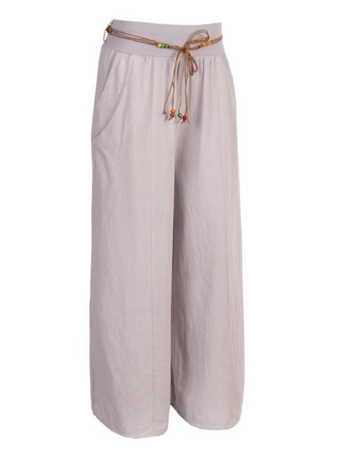 Italian Linen Rope Tie Elasticated Waist Culotte