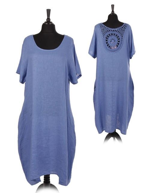 Italian Linen Lagenlook Crochet Back Neck Dress with Side Pockets