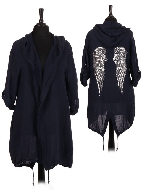 Italian Linen Sequin Angel Wing Hooded Jacket