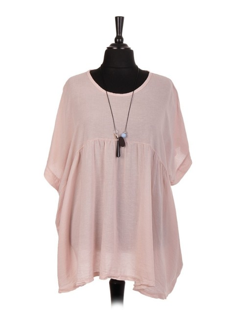 Italian Linen Short Sleeve Pleated Batwing Top