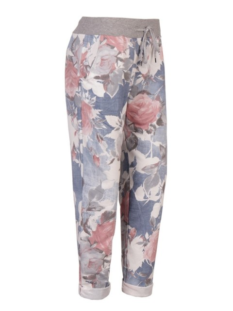 Italian Made Floral Print Cotton Trousers