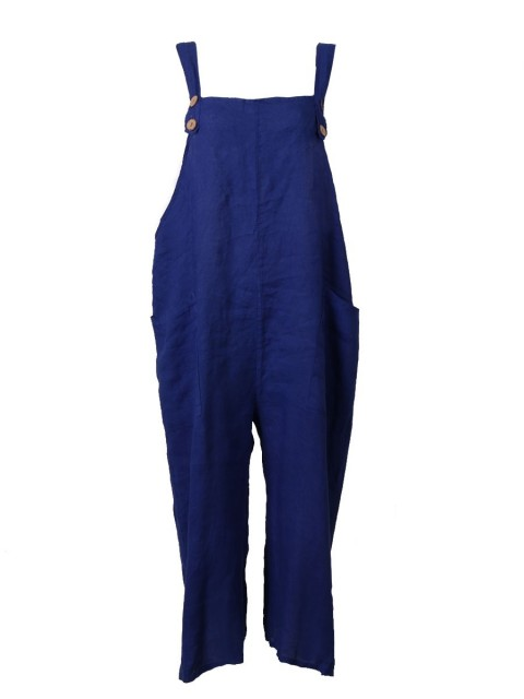Italian Plain Linen Dungaree with button Fastening and Pockets