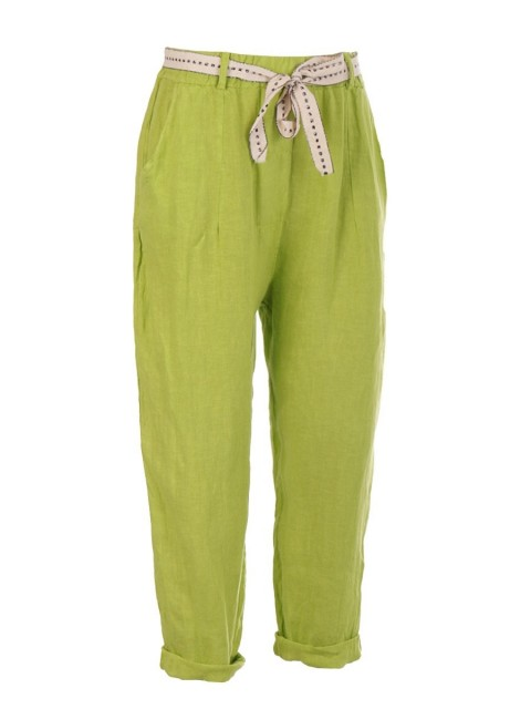 Italian Plain Linen Trouser With Side Pockets