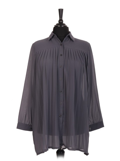 Italian Pleated Blouse With Front Button Panel