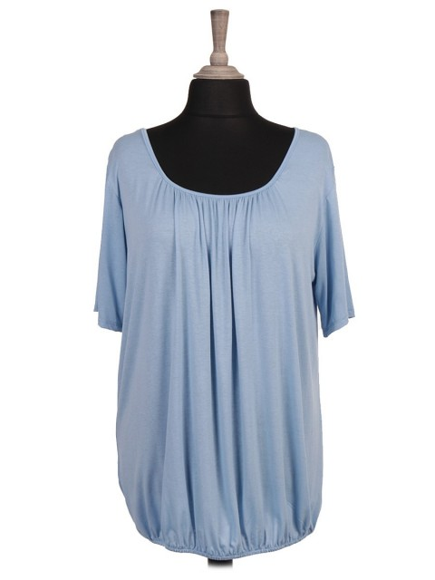 Italian Pleated Elasticated Hem Top