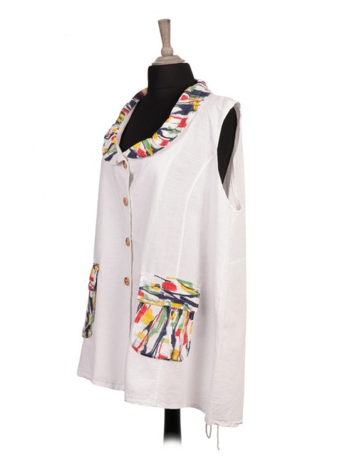 Italian Printed Collar Linen Jacket With Front Pockets
