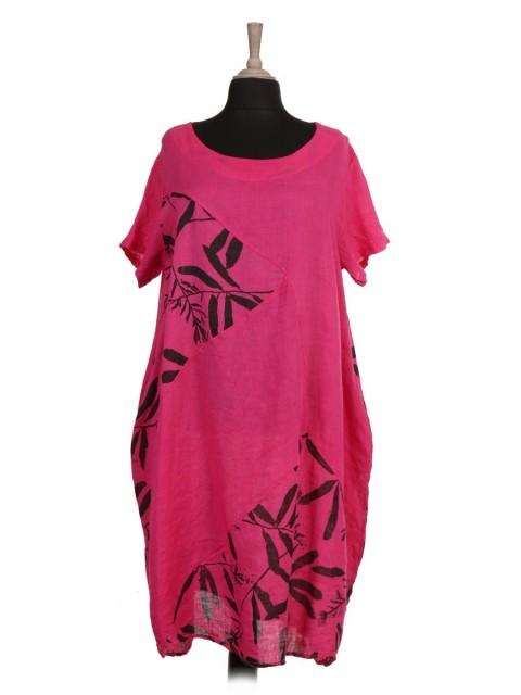 Italian Printed Panel Lagenlook Linen Dress