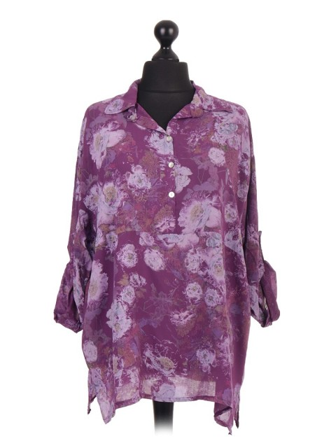 Italian Printed Turn up Sleeve Oversized Shirt
