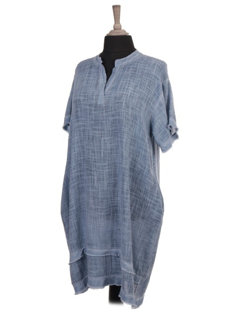 Italian Cold Dye Raw Edge Short Sleeve Dress With Side Pockets