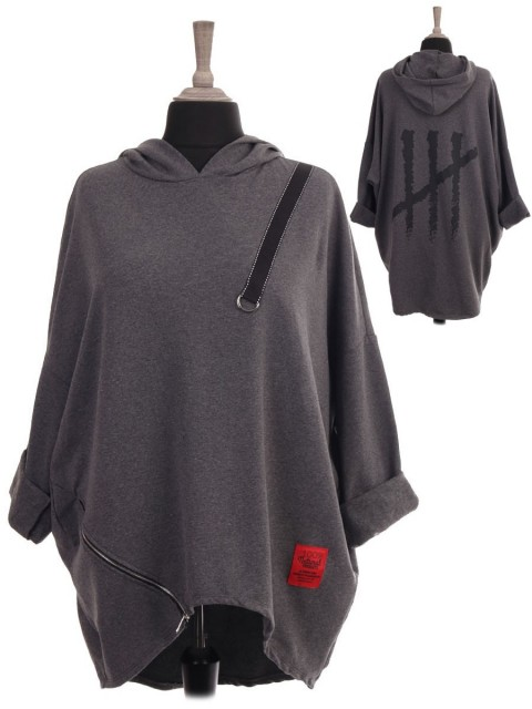 Italian Red Label Printed Back Hooded Dip Hem Sweat Top
