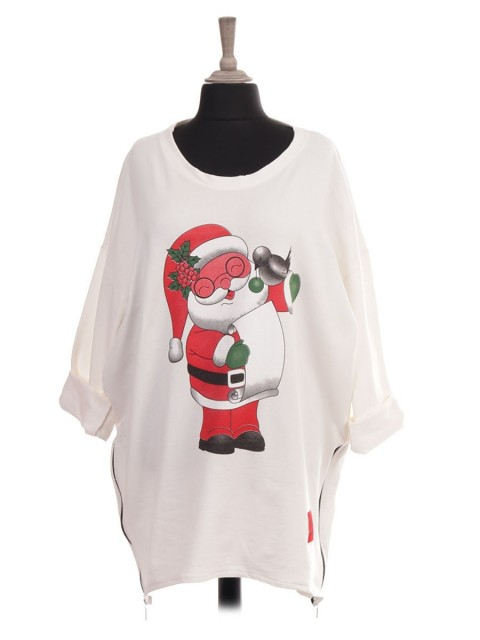 Italian Red Label Santa Print Sweat Top With Side Zip Detail