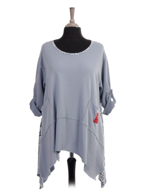 Italian Red Label Star Print Tunic Top With Front Pockets