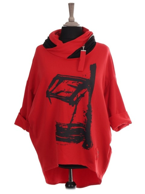 Italian Red Label Zip Hooded Abstract Print Dip Hem Sweat Top