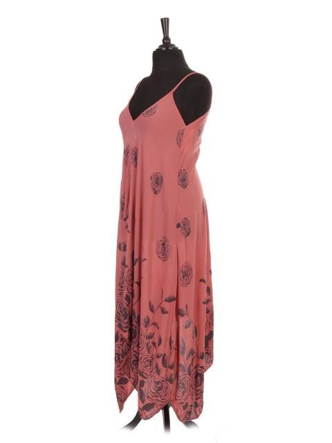 Italian Rose Flower Print Strappy Handkerchief Hem Dress