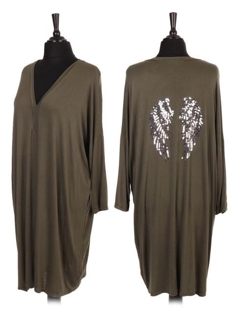 Italian Sequin Angel Wing V-neck Shirt Dress