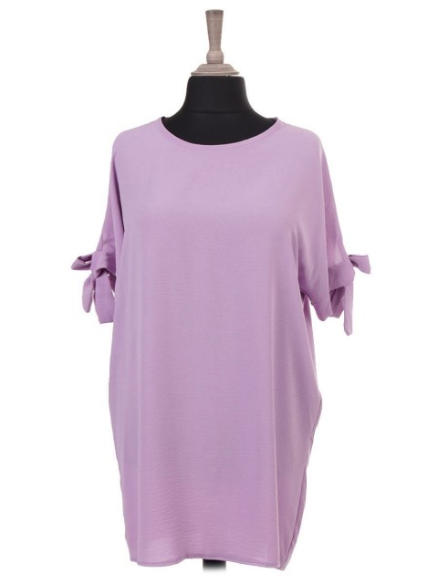 Italian Short Sleeves Knot Detail Arm Batwing Top