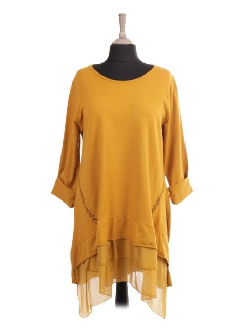 Italian Silk Hem Tunic Dress With Crochet Detail