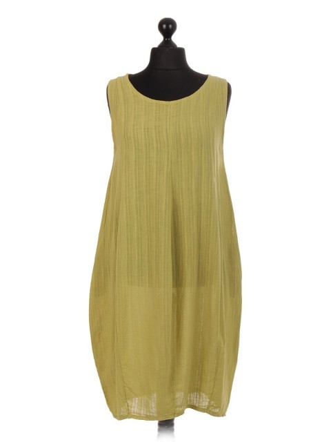 Italian Sleeveless Linen Lagenlook Dress With Side Pockets