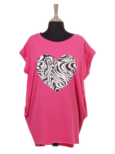 Italian Sleeveless Zebra Print Heart Batwing Top