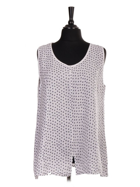 Italian Small Flower Print Sleeveless Top With Split Hem