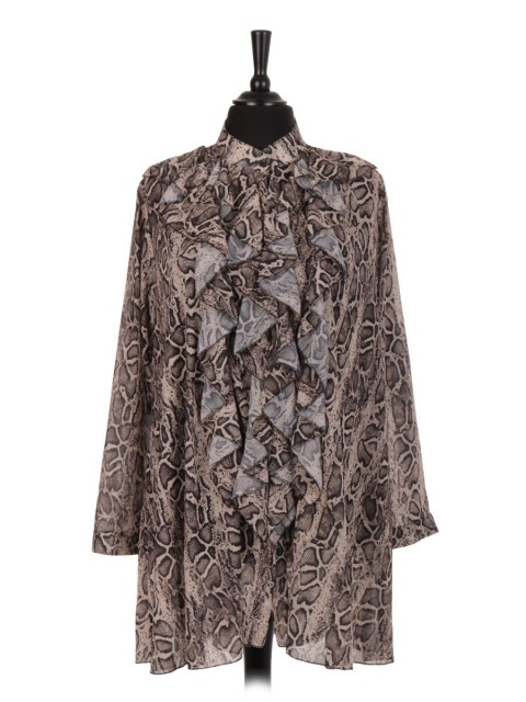Italian Snake Skin Print Ruffle Blouse With Front Button Fastening