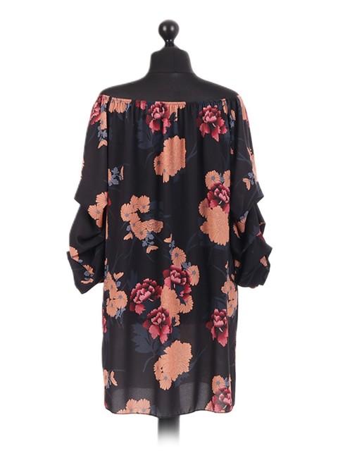 Italian Stem Floral Bardot Tunic
