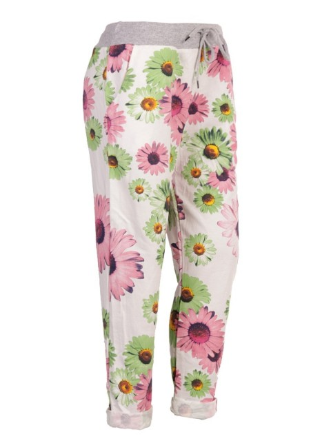 Italian Sunflower Print Cotton Trouser