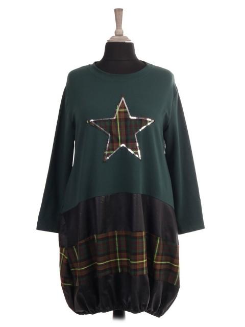 Italian Tartan Print Star and Elasticated Hem Lagenlook Dress