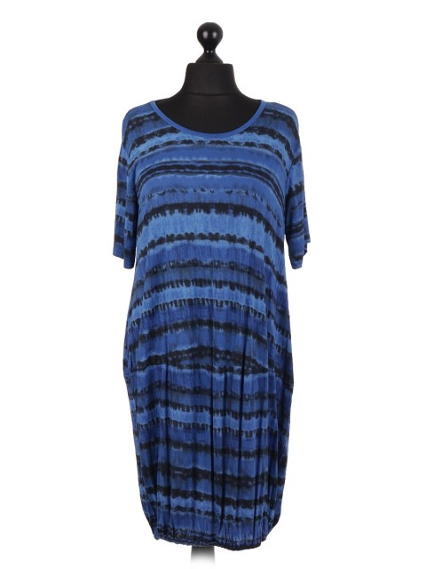 Tie Dye Pattern Printed Elasticated Hem Midi Dress