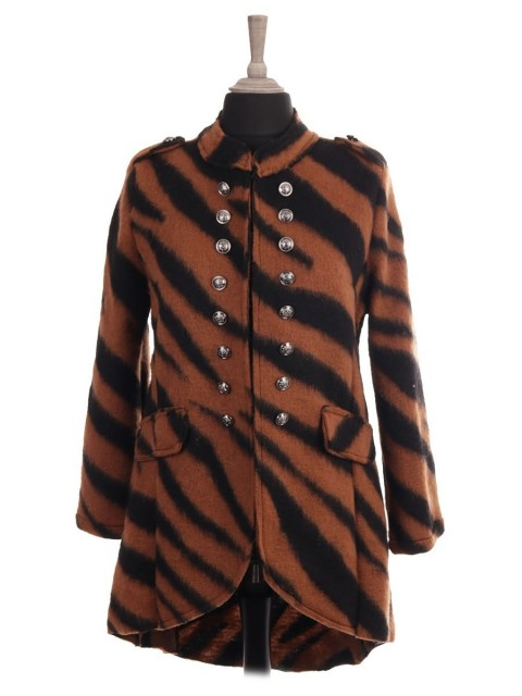 Italian Tiger Print Hi-lo Wool Jacket