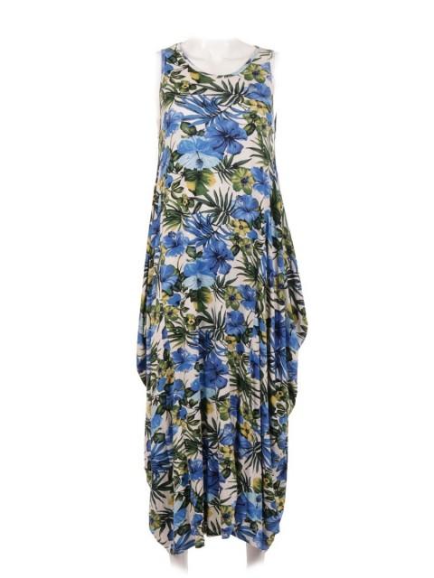 Italian Tropical Print Lagenlook Jersey Dress