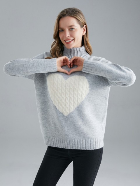 Italian Turtle Neck Cable Knitted Heart Jumper