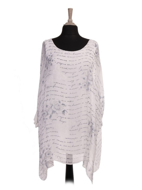 Italian Two Layered Butterfly Print Silk Batwing Top