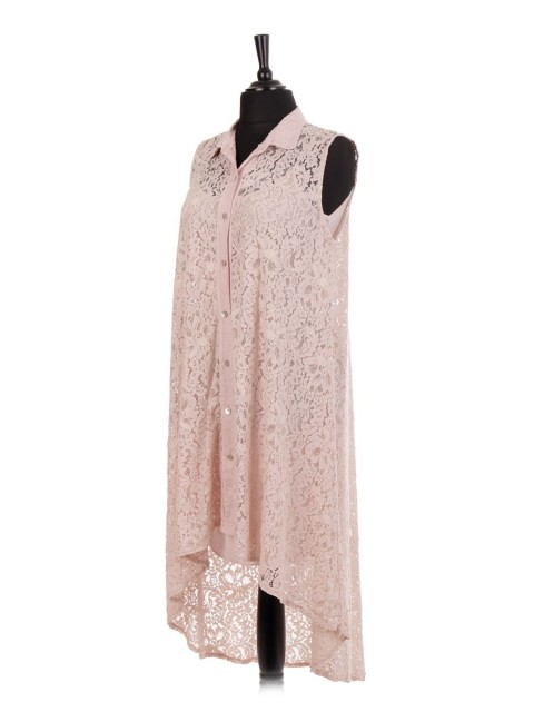 Italian Two Layered High low Lace Dress