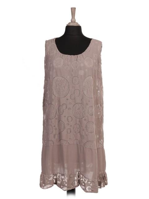 Italian Two Layered Lace Flared Dress