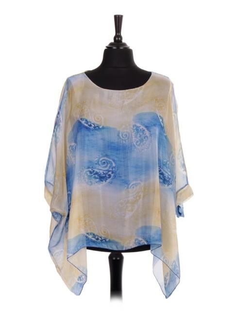 Italian Two Layered Paisley Print Silk Batwing Tunic Top